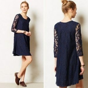 ANTHROPOLOGIE Puella Amare Navy Lace Dress Size L